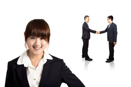 smiling young business woman and handshaking Successful deal photo