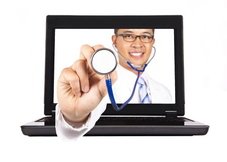prognostic: healthcare and medical service from internet.doctors hand with stethoscope Stock Photo