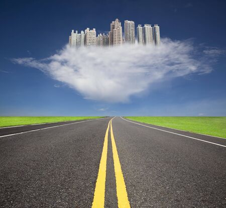 future city: The road to the future city over the cloud Stock Photo