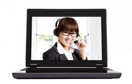 smiling businesswoman and internet call center photo