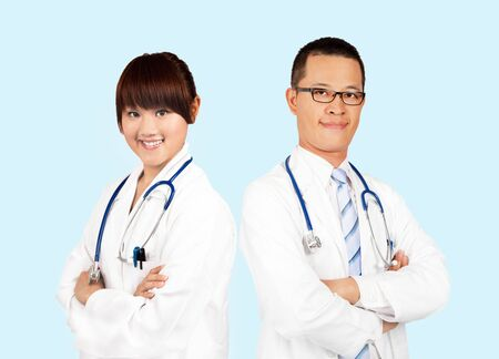 chinese medical: Smiling medical doctors with stethoscopes.