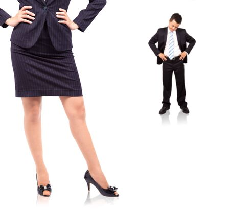 woman handle success: The power of woman.standing businesswoman and Depression businessman