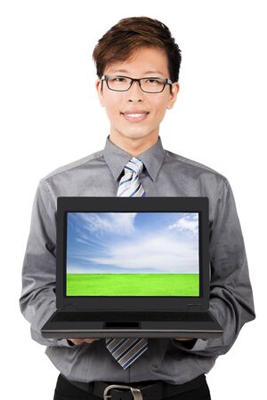 Young businessman introduction and sales laptops photo