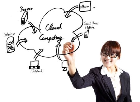 young businesswoman drawing a cloud computing Application  photo