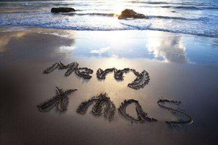 merry christmas on the bech with sunrise Stock Photo - 8021677