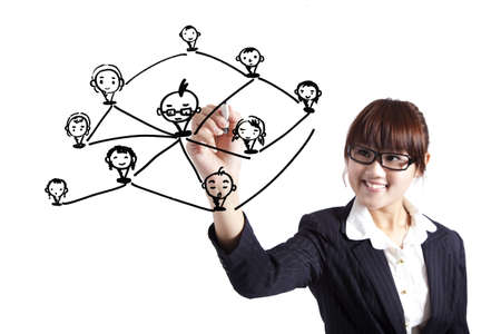 social worker: business woman drawing social network Relationship diagram