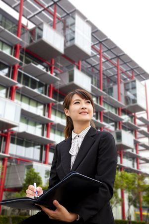 young beautiful business woman Sitting in front of the modern building Stock Photo - 8059922