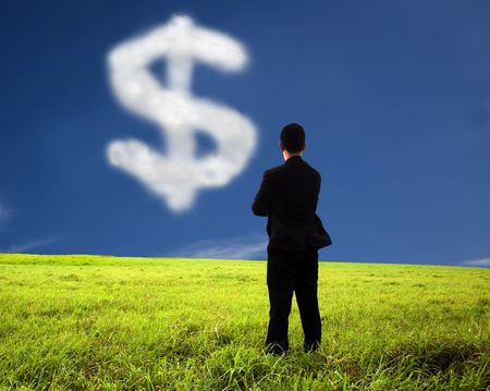 businessman thinking and watching the money mark of cloud photo
