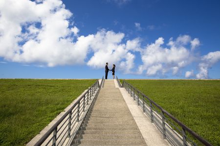 business man and woman  shaking hands on the top of stairs photo