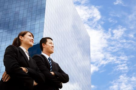 business man and woman  looking away Stock Photo - 8127147