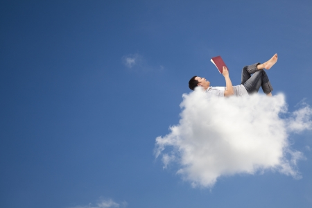 ebook: Relax and reading book on the cloud Stock Photo
