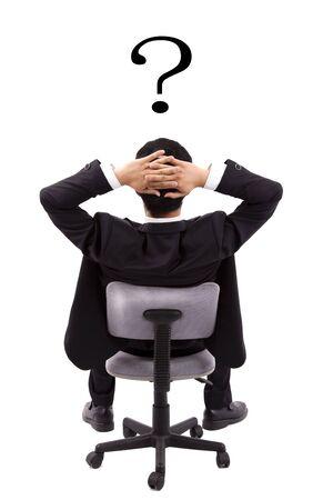 Businessman is thinking.Isolated over white background photo