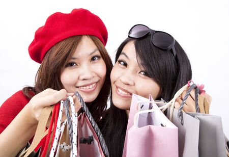 two asian shopping girl isolated on white background Stock Photo - 8127200