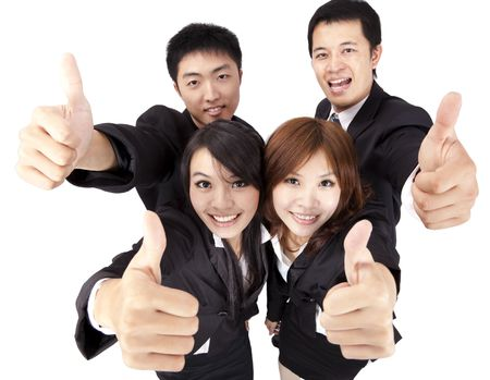 asian working woman: Asian young and success business team with thumb up Stock Photo