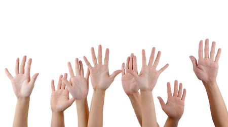 lifted hands: All people raise hands
