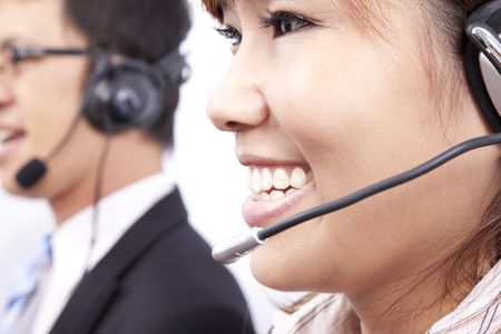 customer support team with  smiling businesswoman in an office  photo