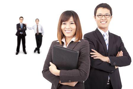 Asian success business team photo