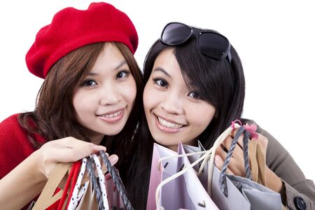 Two Beauty shopping sisters isolated on white background Stock Photo - 8254645