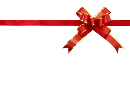 with loops: Red gift ribbon isolated on white background