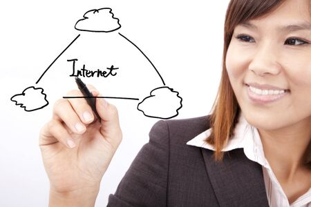 Smiling businesswoman drawing internet cloud application graph photo