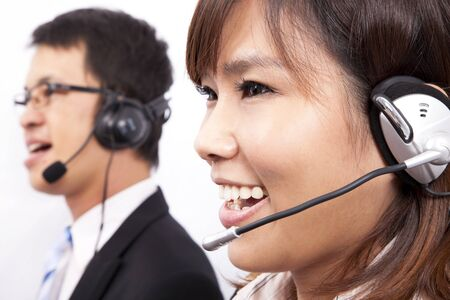 Happy business customer support girl with a headset  photo