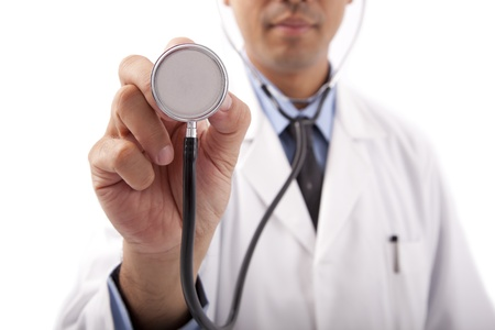 asian doctor: Doctor holding stethoscope