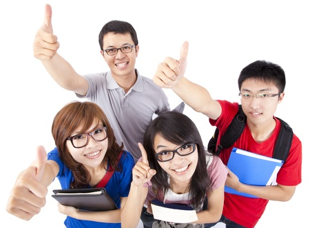 students fun: Happy young people showing thumbs up and isolated on white background