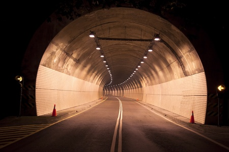 night highway: Road to the old tunnel at night