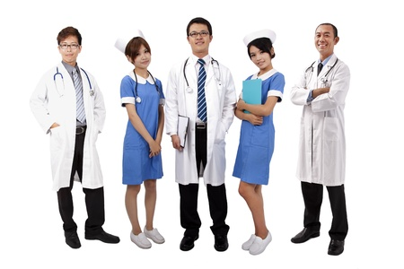Asian medical team .Doctors and Nurses standing with white background  photo