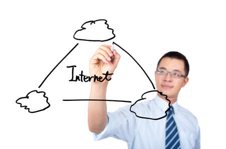 young engineer drawing a internet cloud computing application diagram photo