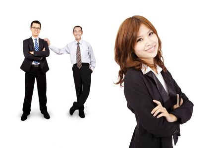 Smiling and confident Asian business woman and success business team photo