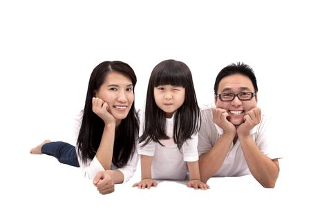 Happy asian family isolated on white background Stock Photo - 8613137