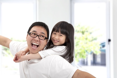 Happy father and daughter.Asian family lifestyle Stock Photo