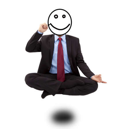 Business man in yoga lotus-pose and  drawing smiling face Stock Photo - 8613146