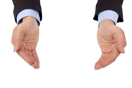 Businessman s hand holding something and isolated on white background photo