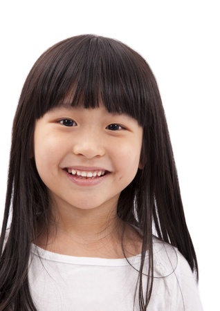 Close-up portrait of Asian little girl on white background  photo