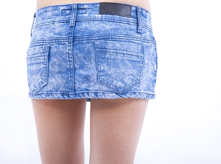 jeans skirt: Sexy woman body and jeans skirt