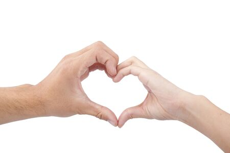 love and heart concept. hands of man and woman forming a heart isolated on white background photo