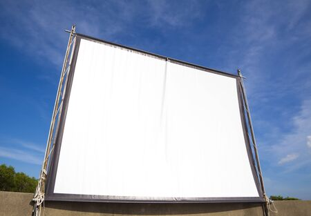 public park: empty white screen for cinema outdoor  Stock Photo