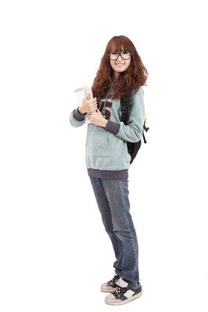 Full length portrait of Asian High school girl photo