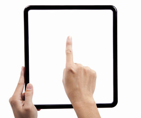 Hand  holding a black square frame and finger try to touch the pad Stock Photo - 8807108