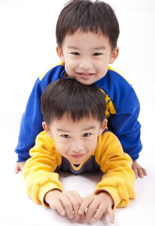 Twin brothers.two happy boys Stock Photo - 8915319