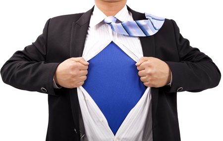 strong message: Businessman with courage and superman  concept Stock Photo