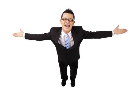approachable: Happy asian businessman and open arms