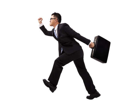 industrious: Businessman running with suitcase