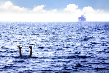 savings problems: man drowning in the sea and waving hand for help