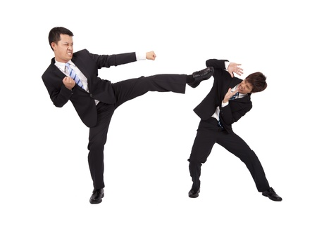 kung fu: Asian Businessman are fighting by kung fu