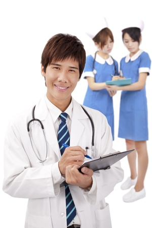 chinese medical: Smiling young medical doctor and nurses
