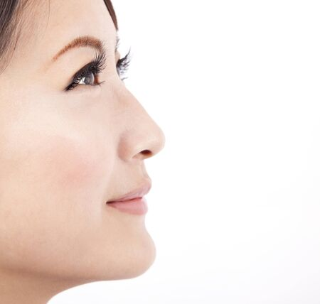 Close up face of a beauty  asian woman isolated on white  background