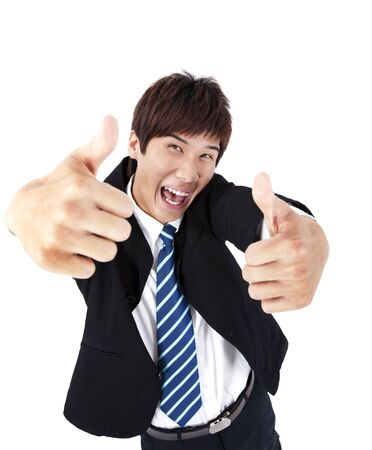 Successful asian young businessman with thumb up Stock Photo - 9163414